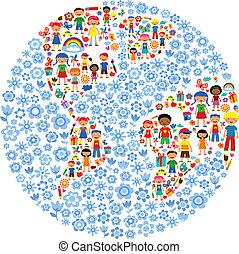 Planet der Kinder, bunte Vektor-Illustration