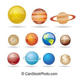 Planeten und Sonne