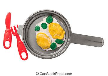 plastilin, eier, gebraten, pfanne