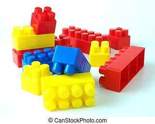 Plastische Spielzeug-Backsteine