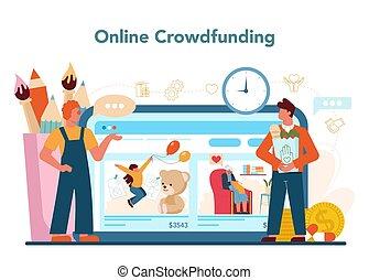 platform., gemeinschaft, sozial, freiwilliger, oder, service, wohltätigkeit, online
