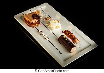 platte, nachtisch, oberseite, kakau, köstlich, rechteck, ansicht