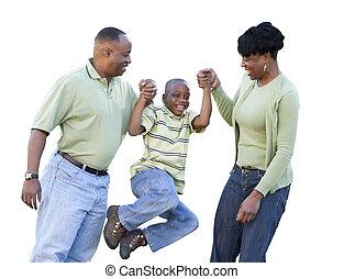 Playful afroamerikanischer Mann, Frau und Kind isoliert