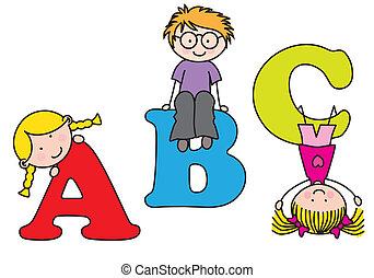 playing., alphabet, kinder