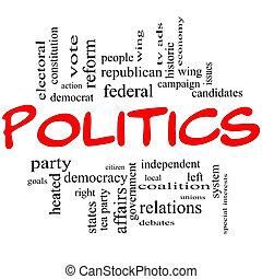 Politik macht das Wort Cloud-Konzept in roten Buchstaben