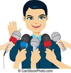 Politiker, die Pressefragen beantworten.