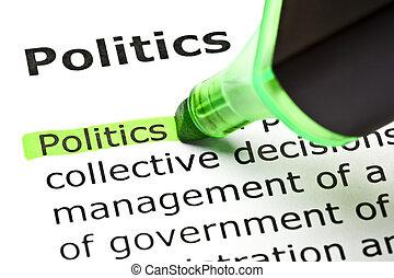 """""""Politische"""" wurde in Grün hervorgehoben"""