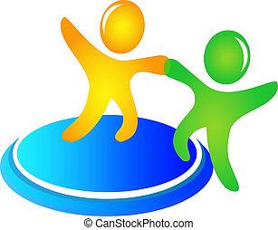portion, logo, vektor, gemeinschaftsarbeit