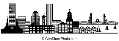 Portland City Skyline Panorama Clip Kunst