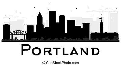 Portland City Skyline schwarz und weiß.