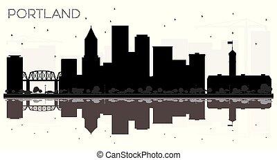 Portland City Skyline schwarz-weiß Silhouette mit Reflections.