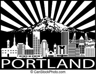 Portland City Skyline und Mount Hood schwarz weiß Illustration.