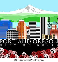 Portland Downtown Skyline mit Mount Hood und Flussfarben.