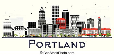 Portland oregon City Skyline mit grauen Gebäuden isoliert auf weiß.