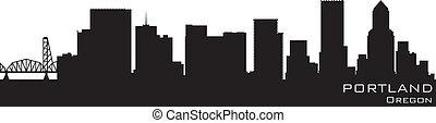 Portland, Oregon Skyline. Detailierte Vektorsilhouette