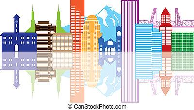 Portland oregon skyline Farbe Illustration.