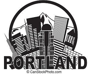 Portland oregon skyline mt Hood schwarz und weiß Illustration.