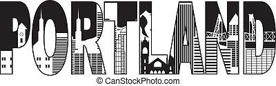 Portland oregon skyline text outline schwarz-weiß Illustration.