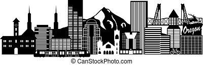 Portland oregon skyline transport schwarz-weiß Illustration.