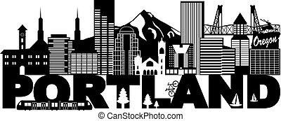 Portland oregon skyline und Text schwarz-weiß Illustration.