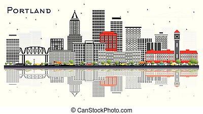 portland, white., stadt, graue , freigestellt, oregon, skyline, gebäude, reflexionen