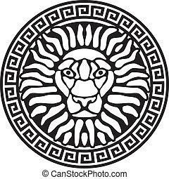 Porträt eines Löwen und Gemeiner. Antike Erleichterung.