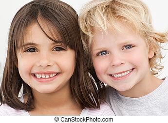 porträt, kinder, kueche , zwei, glücklich