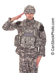 porträt, salutieren, militaer, mann, uniform