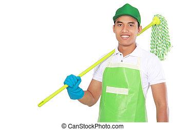 Portrait eines jungen Mannes mit Reinigung.