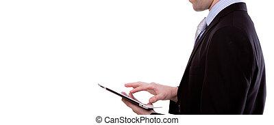 Portrait von jungen Geschäftsmännern mit einem Touchscreen-Gerät vor weißem Hintergrund