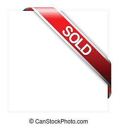 posten, verkauft, geschenkband, rotes , ecke