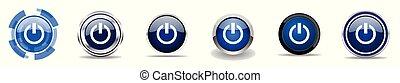 Power-Silber metallic chrome Grenzvektoren Icons, Set von Web-Tasten, runde blaue Zeichen in Eps 10.