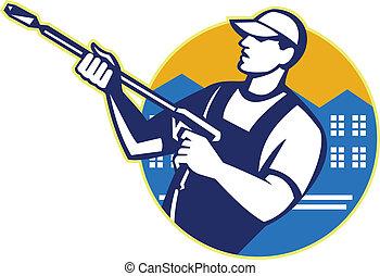 Power-Waschdruck-Wasserstrahlerarbeiter