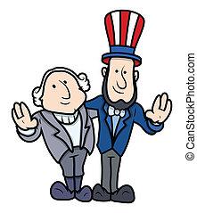 präsidenten tag, charaktere, karikatur