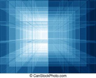 Praktischer blauer Raum