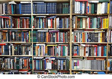 Privatbibliothek. Wand aus Regalen voller Bücher.