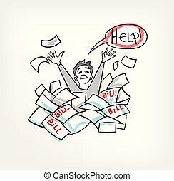 Problem mit Rechnungen Konzept vektor Illustration schreien nach Hilfe Mann.