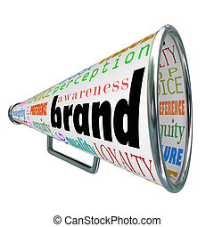 produkt, markentreue, werbung, megaphon, bewusstsein, bauen