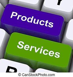 Produkte und Dienstleistungsschlüssel zeigen Verkauf und Kauf online