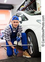 professionell, schrauben, rad, auto mechaniker