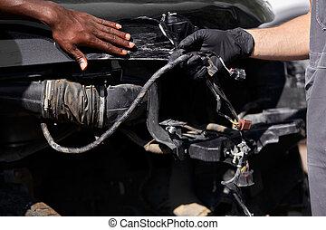 professionell, zwei, arbeit, mechaniker, auto, während, feundliches