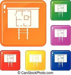 Projekt von Haus auf einem Brett Icons setzen Vektorfarbe.