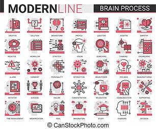 prozess, begriff, einfühlungsvermögen, komplex, sozial, linie, menschliche , satz, wohnung, kreativität, verstand, lernen, vektor, gehirn, psychologie, abbildung, verarbeitung, heiligenbilder