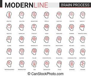 psychologie, schlanke, sozial, menschliche , linie, kreativität, gehirn, abbildung, verarbeitung, verstand, rotes , wohnung, satz, heiligenbilder, einfühlungsvermögen, prozess, vektor, schwarz, lernen