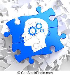 Psychologisches Konzept des blauen Puzzles.