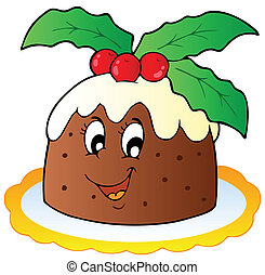 pudding, karikatur, weihnachten