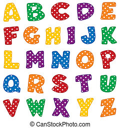 punkte, alphabet, polka, weißes