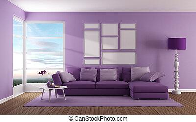 Purple zeitgenössisches Wohnzimmer.