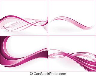Purpurne rosa Wellen-Schrift. Benutzen von Mischungen, Masken schneiden, linearen Gradienten, globalen Farbmustern.