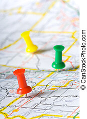 pushpins, landkarte